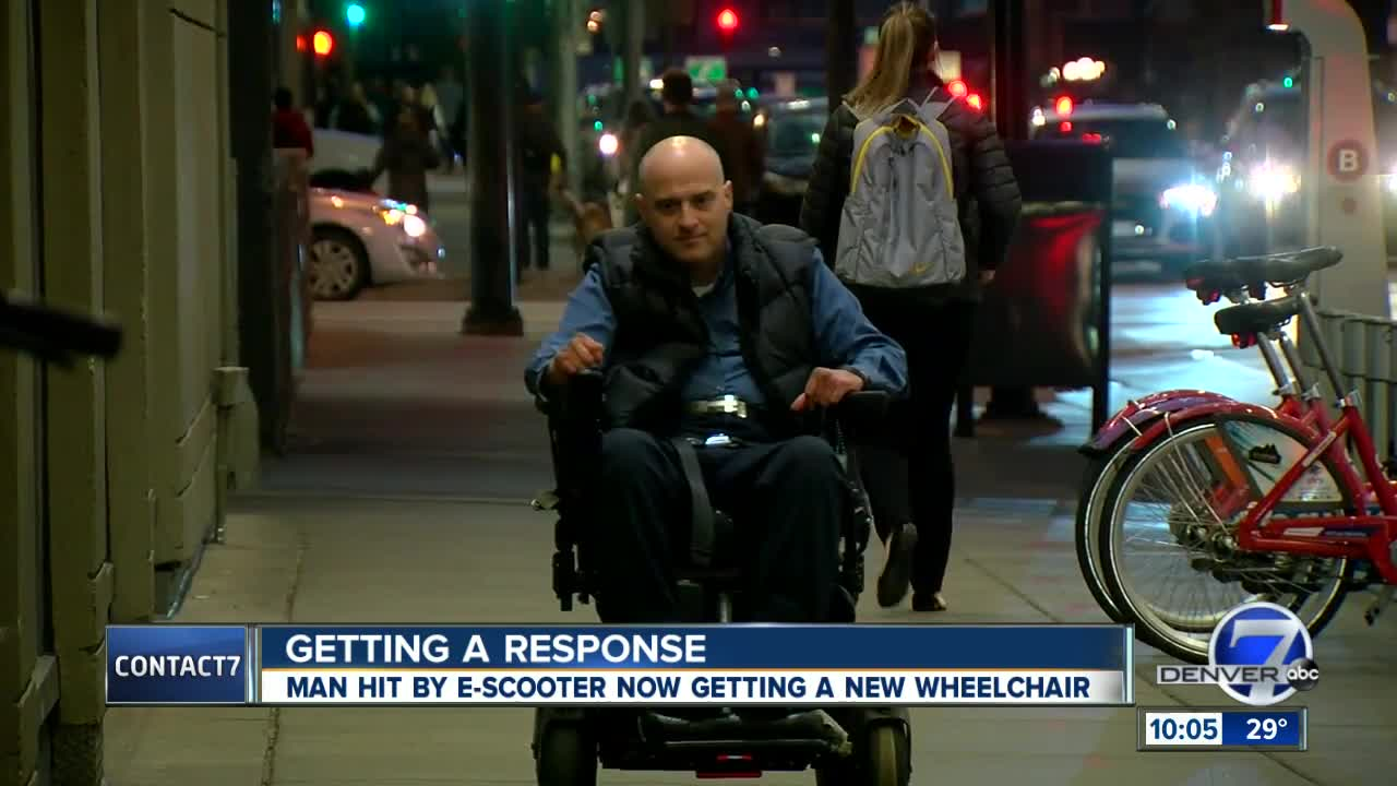 Denver man struggling to replace broken wheelchair after e-scooter crash