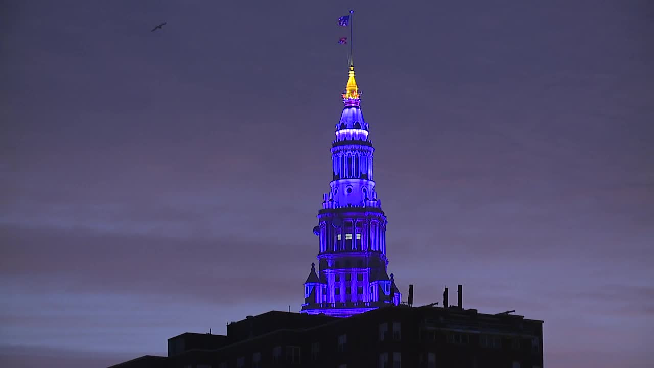 Terminal Tower goes purple for World Pancreatic Cancer Day