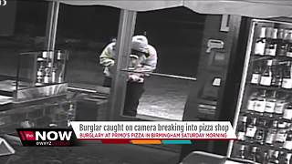 VIDEO: Burglar breaks into Birmingham pizza shop, only gets $100 - Video