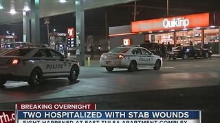Two people hospitalized after overnight stabbing in East Tulsa - Video