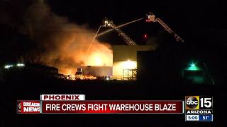Crews fight warehouse fire overnight in Phoenix - Video