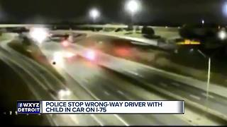 Police stop wrong-way driver with child in car on I-75 - Video