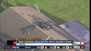 Florida man crashes small homemade helicopter into house