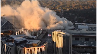 Georgia Dome Implosion As Viewed From The Westin Hotel - Video