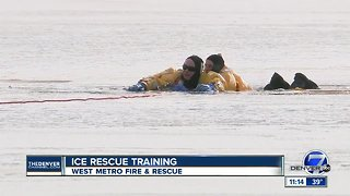 West Metro Fire trains for ice rescues at Bear Creek Lake Park