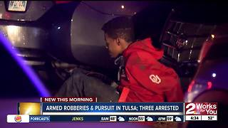 Three people arrested following armed robberies and pursuit