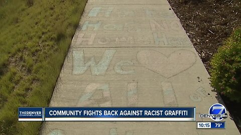 Racist graffiti was found in a Stapleton park and neighbors are fighting back
