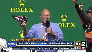 Sir Patrick Stewart drinks champagne from shoe - Video