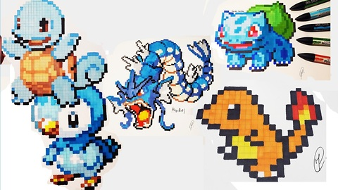 Amazing pixel drawing compilation of Pokemon characters