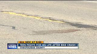 Teen fights for his life after bicycle crash - Video