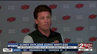 Mike Gundy goes shirtless at Oklahoma State Homecoming Pep Rally - Video