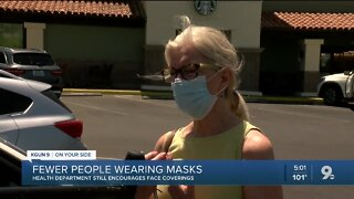 Fewer people wearing masks