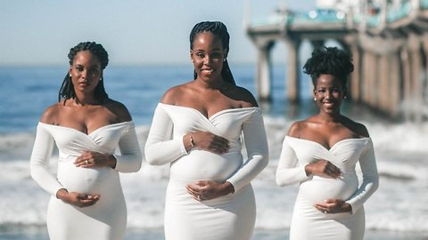 Beautiful photoshoot shows sibling love between three sisters pregnant at the same time