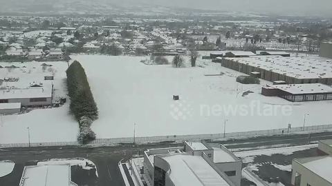 Drone captures South East Ireland blanketed in snow