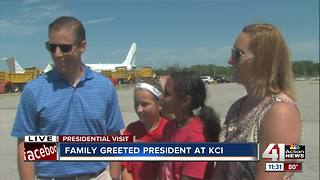 Local family greeted President Trump at KCI - Video
