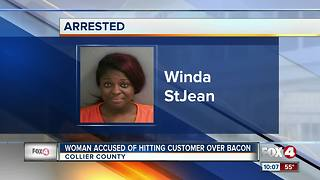 Woman Accused of Hitting Customer over Bacon - Video