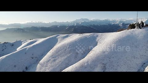 Spectacular 4K drone footage of year's first snow in Italian Alps