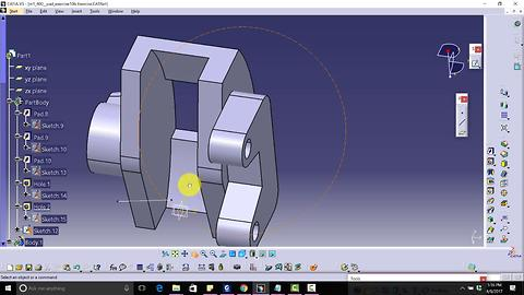CATIA V5 Free Advance Course Design Brake Caliper|angular extrude,position sketch,close arc,flange|