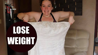 305lbs bride poses in wedding dress after shedding incredible 145lbs - Video