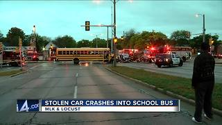 Police: Suspects in custody after dealership burglary leads to chase, school bus crash - Video