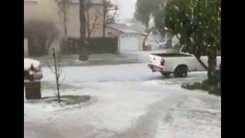 Long Beach Lashed by Hailstorm on First Day of Spring