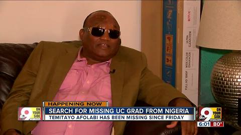 Police helping family's search for missing UC grad from Nigeria