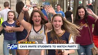 Cavs invite students to watch party - Video