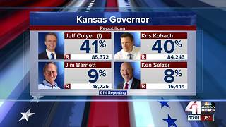 Kansas GOP governor primary locked in tight race - Video