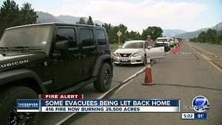 416 Fire grows to more than 27,000 acres; some residents allowed to return home - Video
