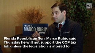 Marco Rubio Suddenly Changes Course on GOP Tax Bill at the Last Minute - Video