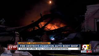 Fire destroys Evanston auto body shop - Video