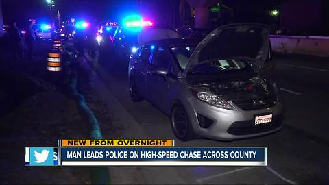 Driver leads authorities on pursuit through San Diego County