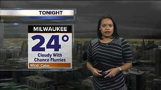 Temperatures in the 20s expected Wednesday night with a chance of flurries