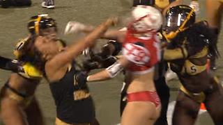 Lingerie Football League Player Gets KNOCKED OUT with One Punch - Video