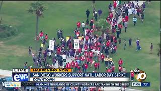 San Diego workers protest on Labor Day - Video