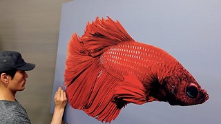 Stunning hyperrealism portrait of red betta fish