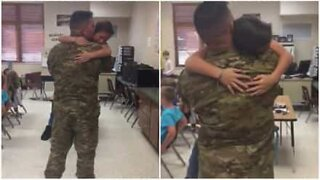 Homecoming soldier surprises son at school