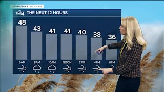 Rain showers turn to snow as cold fronts moves in Sunday