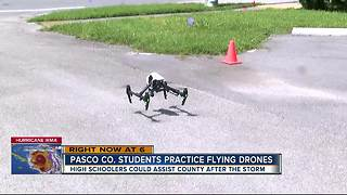Student drone pilots called to duty as hurricane approaches - Video