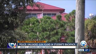 Student brings unloaded gun to John I. Leonard High School