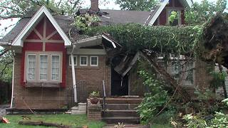 Massive tree splits Cleveland Heights house nearly in half - Video