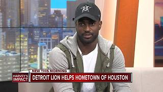 Detroit Lion Helps Hometown of Houston - Video