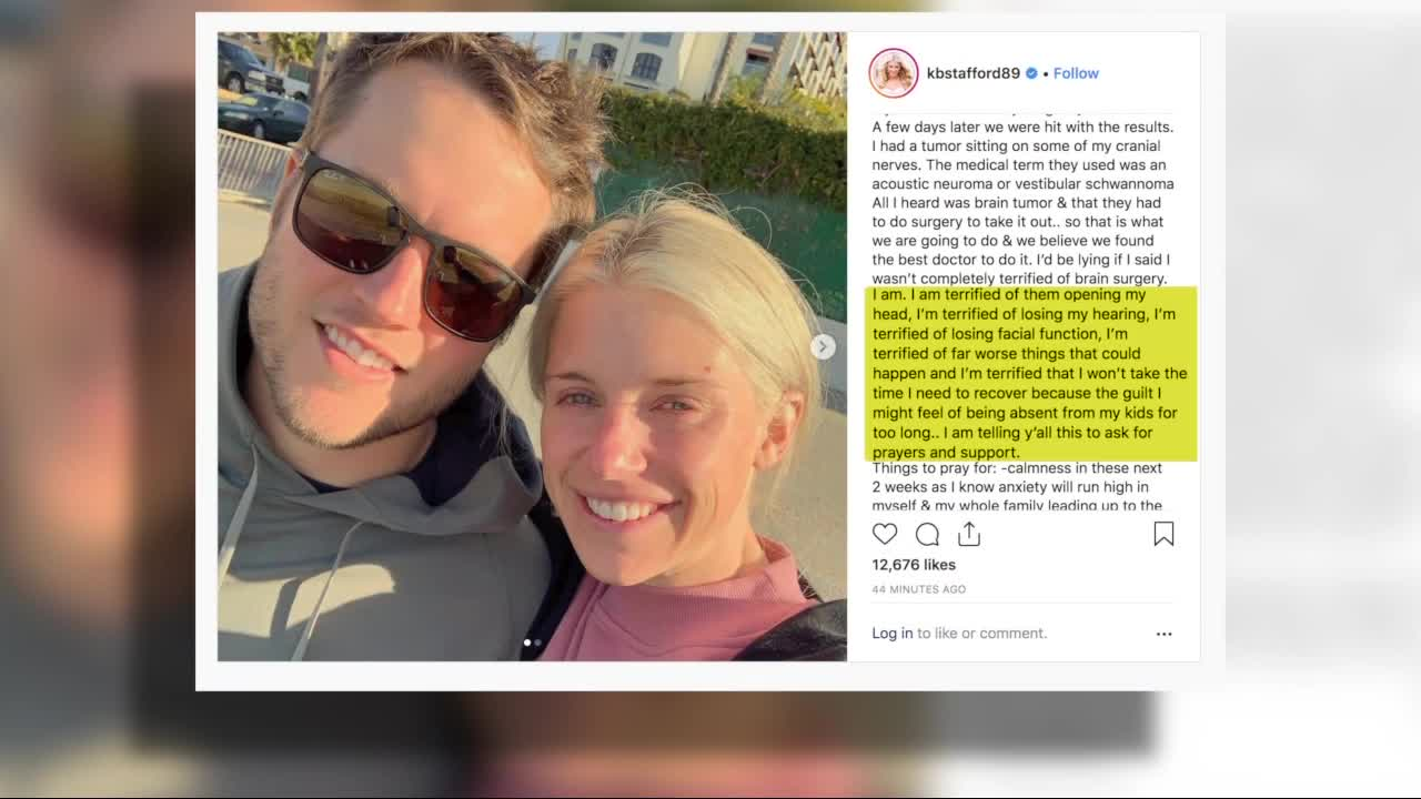 Kelly Stafford Wife Of Matthew Stafford Having Brain Surgery To