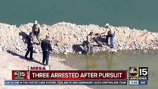 Three in custody after pursuit ends in Mesa