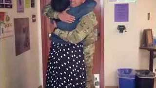 Soldier Surprises Mom With Early Return and She Won't Let Him Go