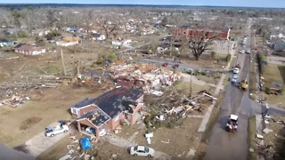 Drone Footage Shows Widespread Damage in Hattiesburg