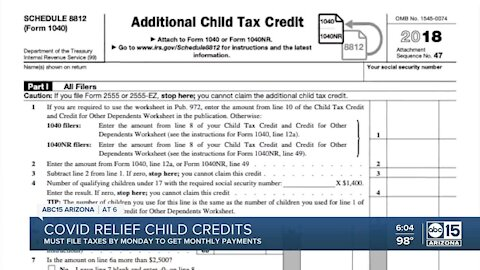 Deadline fast approaching to receive COVID relief money for your children