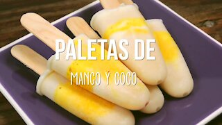 Frosted Mango and Coconut Popsicles