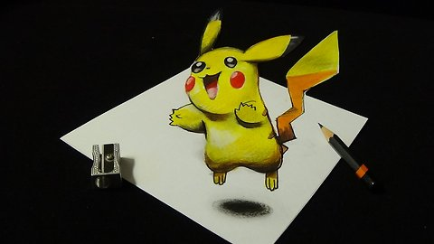 Drawing a 3D Pikachu, Trick Art, Pokémon GO