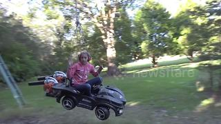 Nutty professor builds crazy leaf blower ride for his children - Video